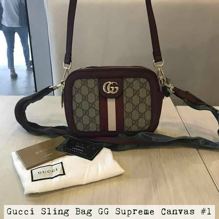 a7314bc3ffe Authentic Gucci Bag GG Supreme Canvas Sling Bag Free SF