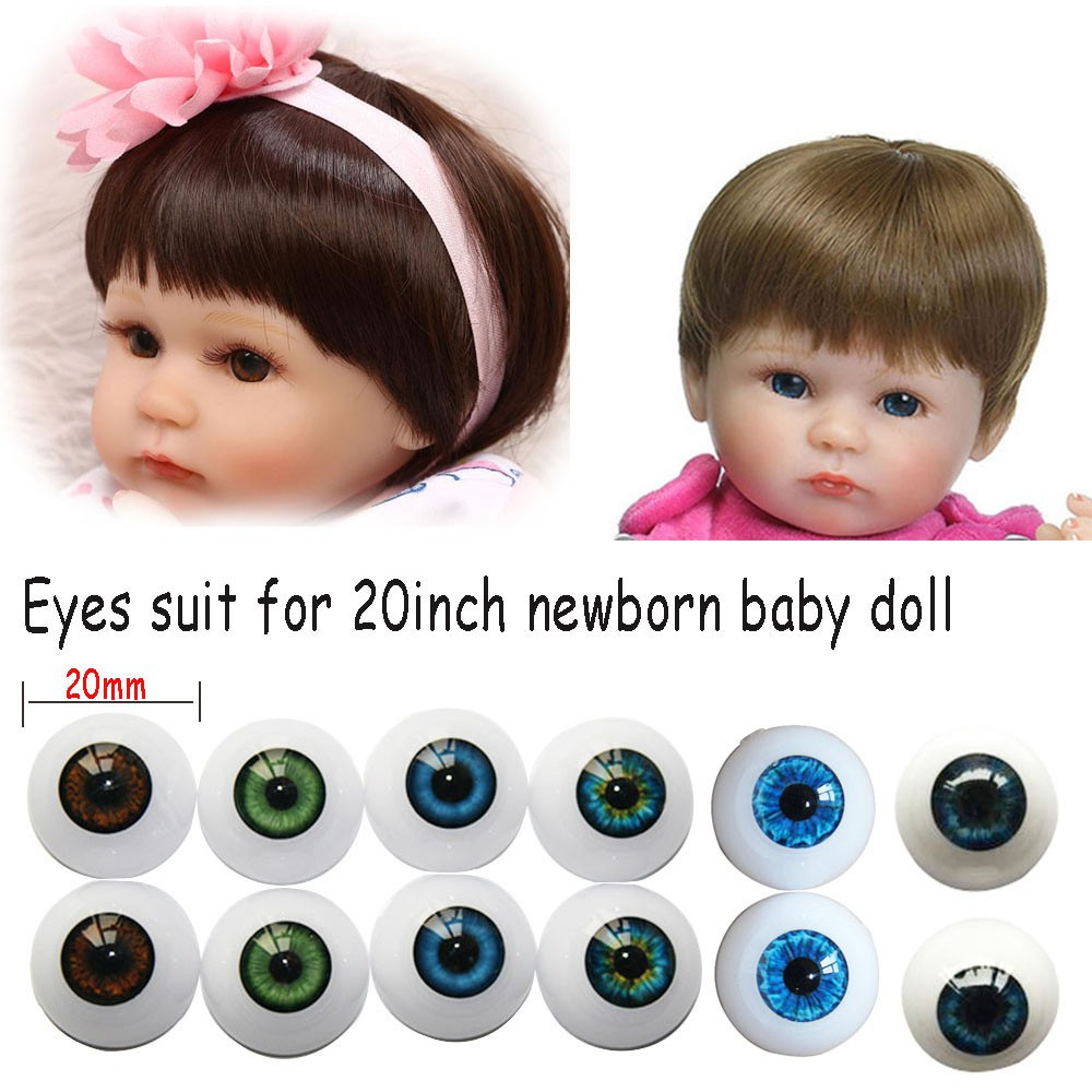1 Pair Arcylic 20 mm Doll Eyeballs For 20 Inch Baby Doll Half Round Eyes
