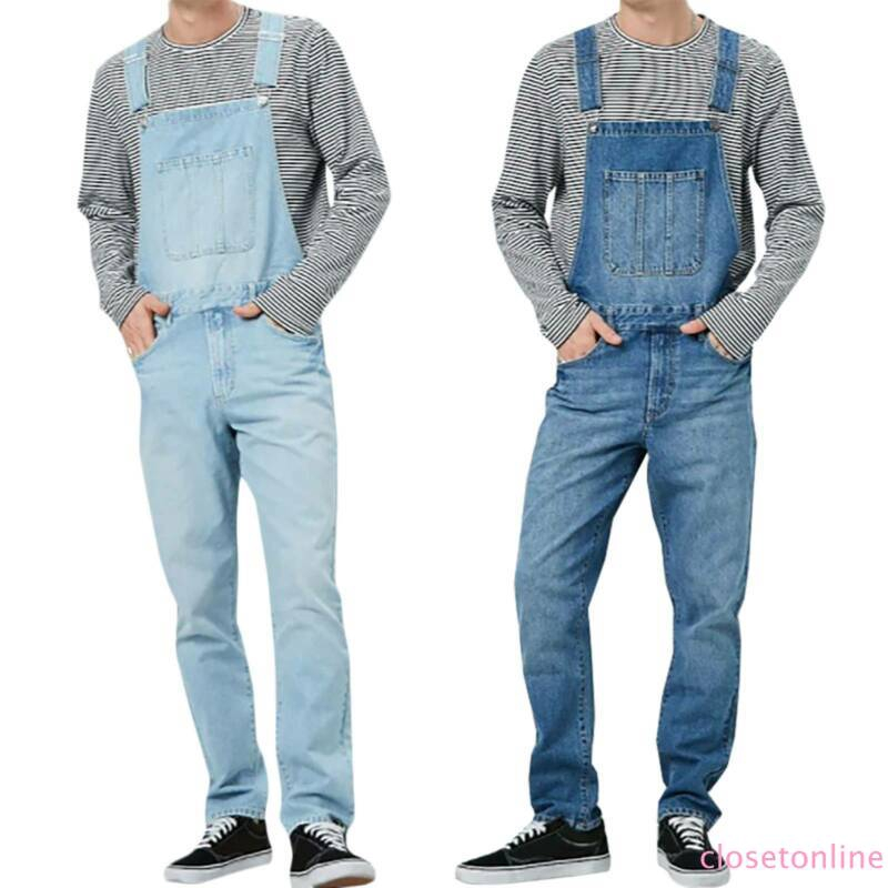 Stylish Mens Casual Straight Pants Overalls Suspenders Dungarees Jumpsuits