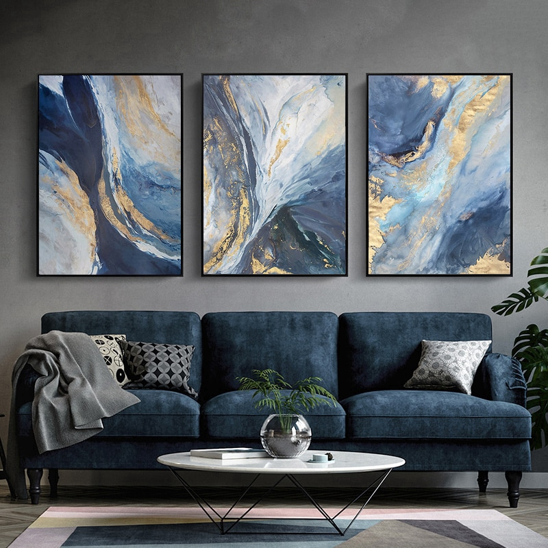 Wall Art Picture Abstract Blue Cloud, Long Painting For Living Room