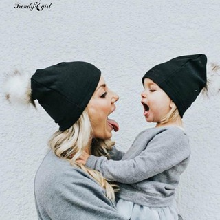 9bd8eff61 👒2Pcs Print Knitted Beanie Hat Adult Kid Matching Pompom Cap ...
