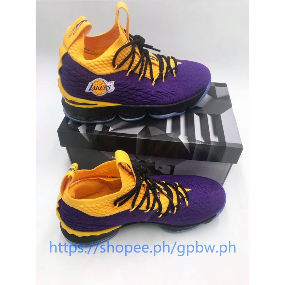 buy popular f4c7f 84f57 Nike LeBron 15 Lakers Edition Basketball Shoes For man with box and paperbag