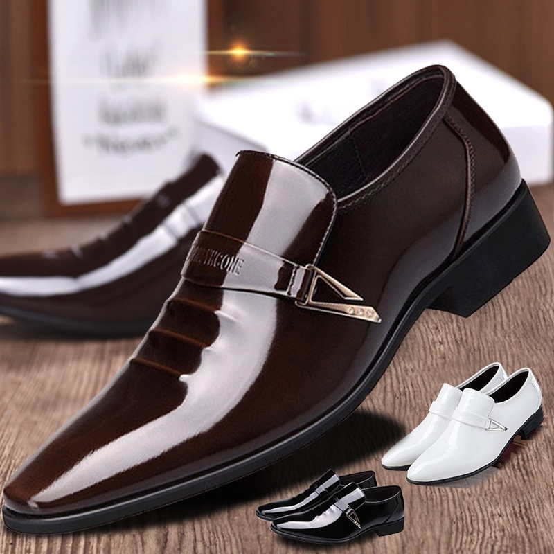 Men/'s Formal Dress Bright Leather Shoes Pointed Lace Up Oxfords Wedding Business
