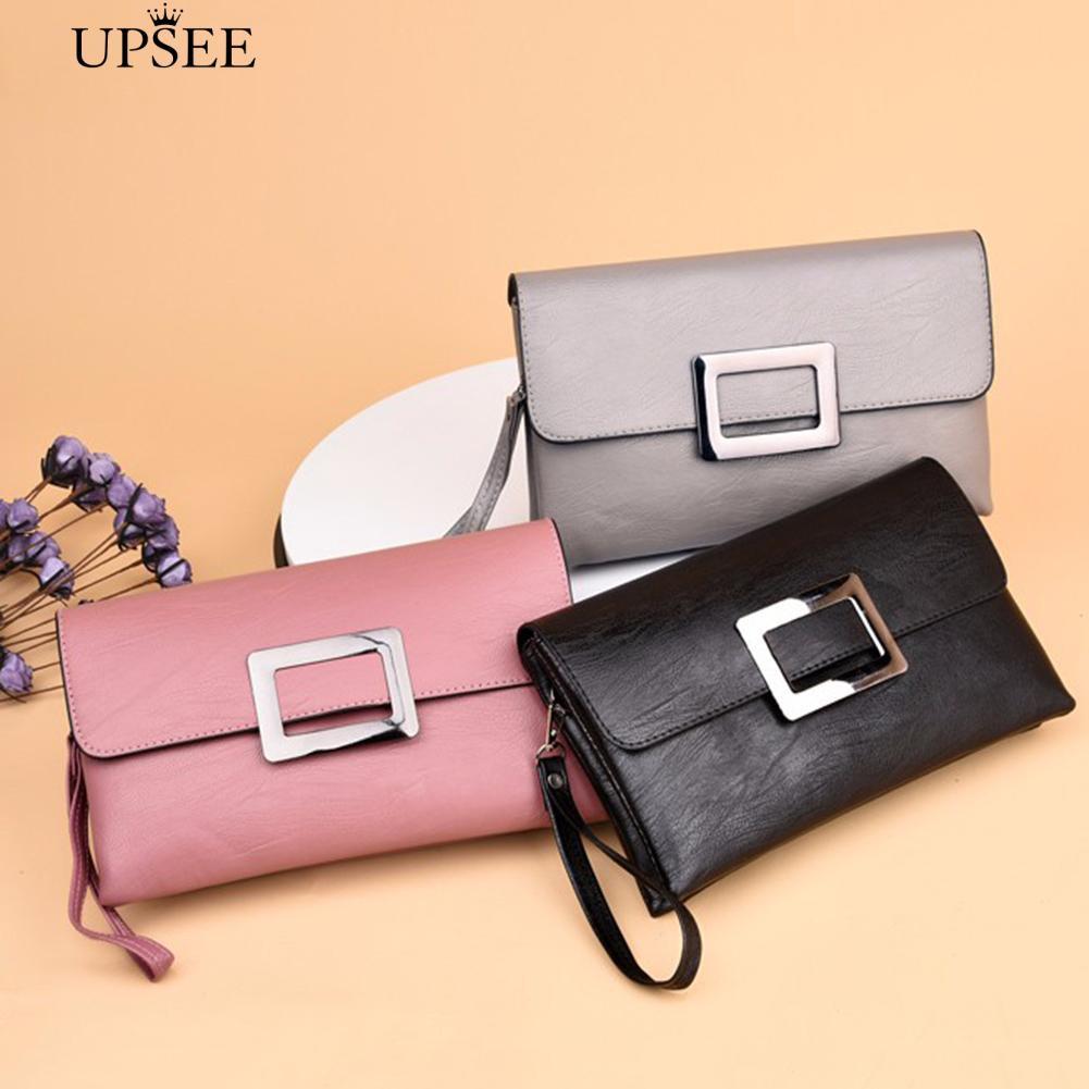 d3b1c06372dc √COD Retro Envelope Solid Color Faux Leather Women Shopping Crossbody  Clutch Bag