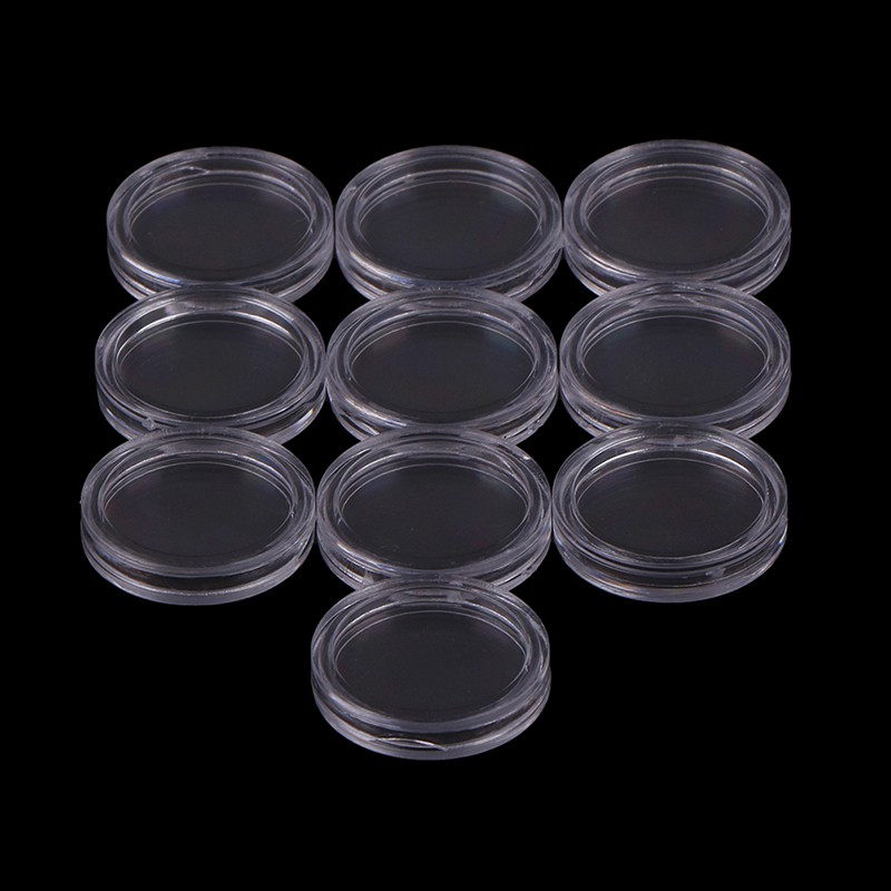10pcs 18mm Applied Clear Round Cases Coin Storage Capsules Holder Round Plastic