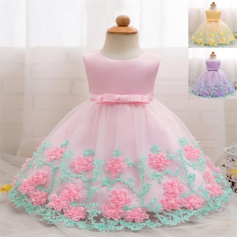 79315c034158b 3Colors Infant Girls Christening Flowers Dress