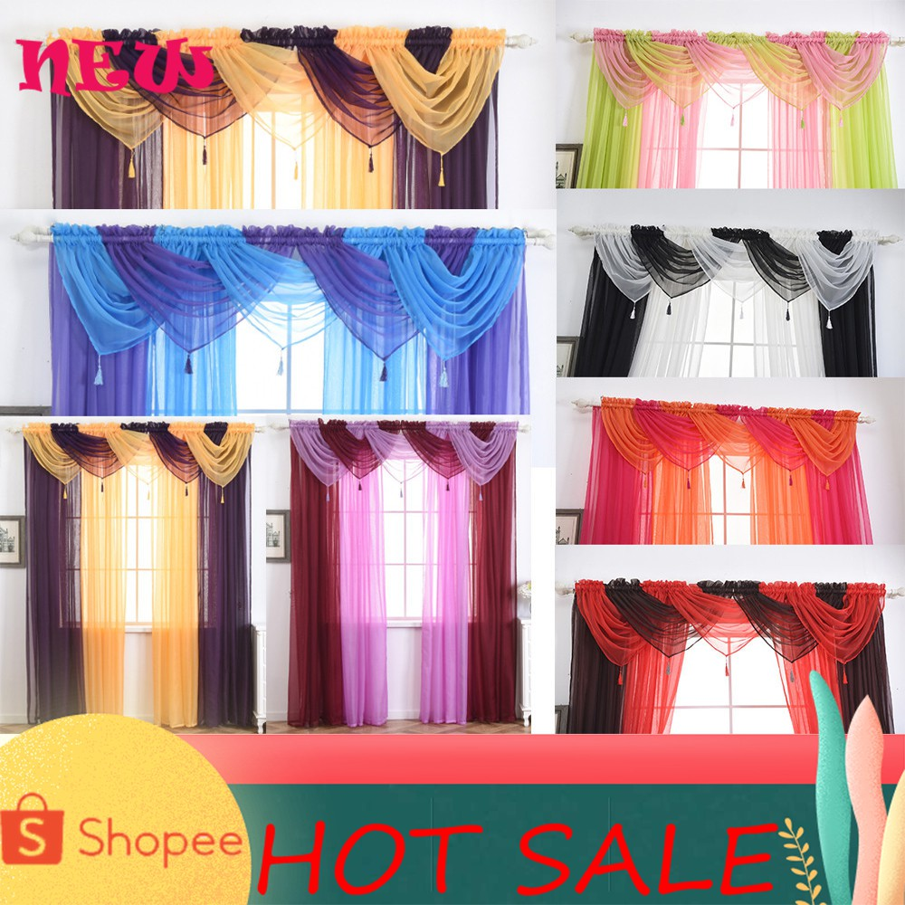 Voile Curtain Swags All Colours Pelmet Valance Net Curtains Shopee Philippines