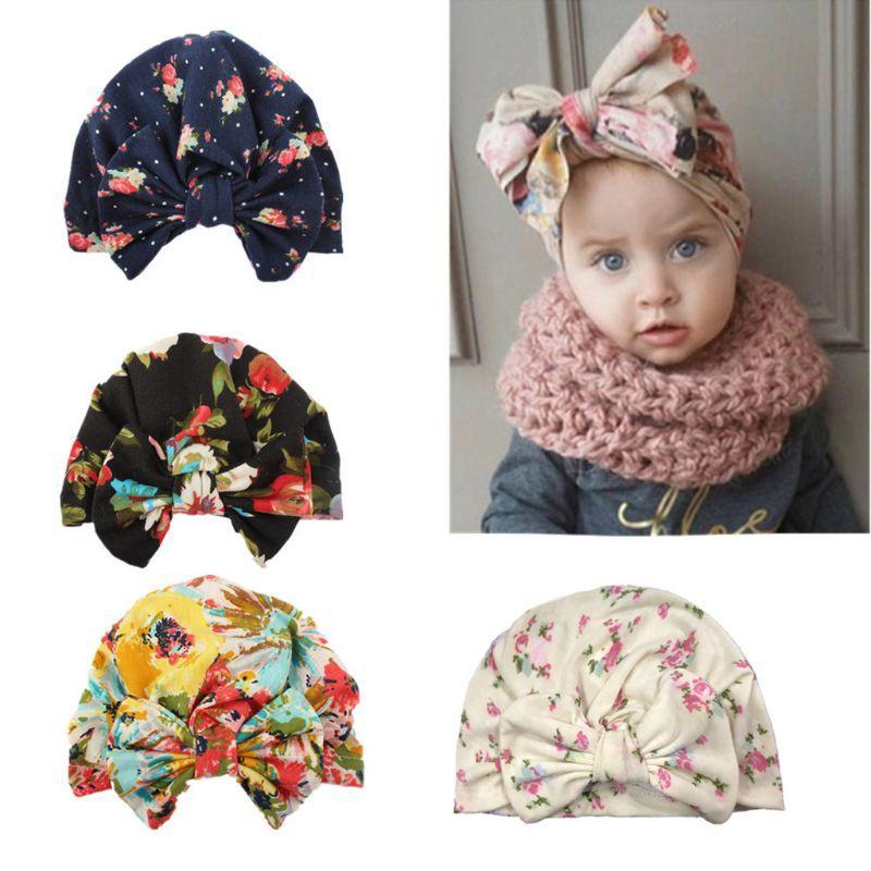 Kid Girls Children Turban Hat Polka Dots Pattern Stretchy Hat Hair Head Wrap Cap