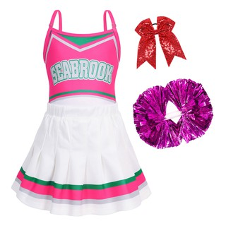 Little Girls Addison Cheerleader Dress Rose for Party Dress up Pink 2-8Y
