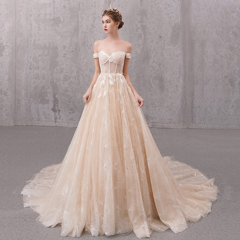 Main Bride Wedding Dresses 2020 Female Shoulder Contracted A Word Is Super Luxury Lace Trailing Fa Shopee Philippines,Beach Cocktail Dress Wedding