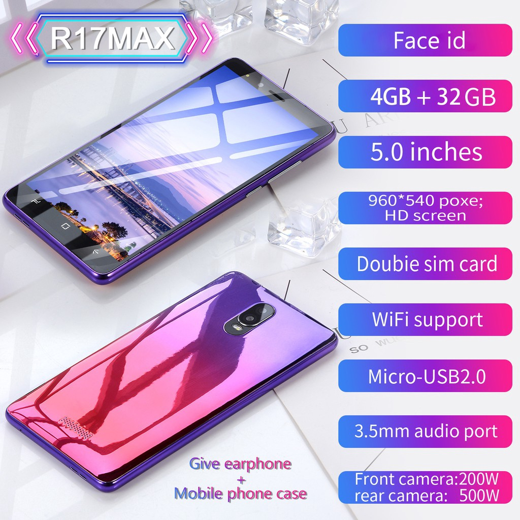 Mobile phone smartphone 5 0 inch TN screen GSM 4G + 32G Android4 4 facial  identification code R17MAX
