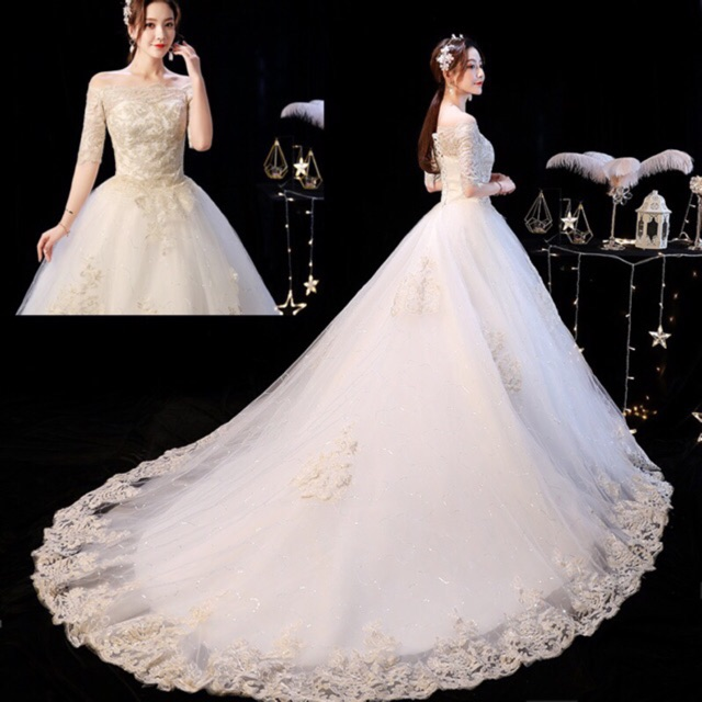 New White Lace Wedding Dress Bridal Gown Send Gloves Headdress Skirt