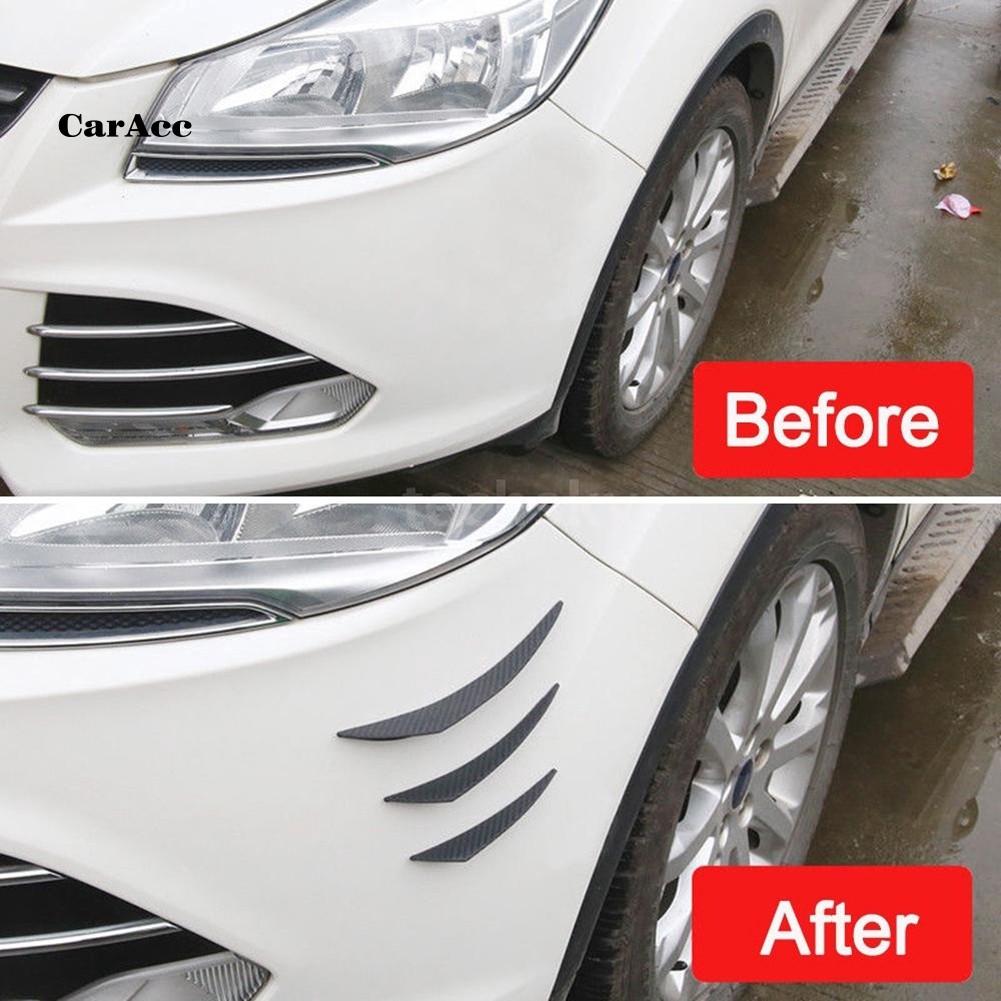 6PcsUniversal Rubber Car Sticker Splitter Canard Valence Carbon Front Bumper Fin