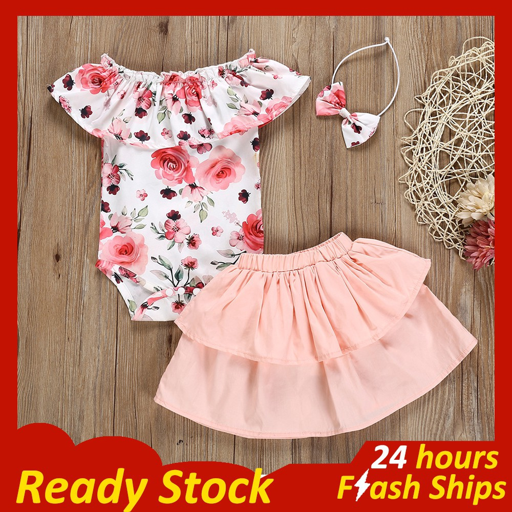 Toddler Baby Girl Floral Ruffled Off Shoulder Halter Jumpsuit Romper Overall Shorts Summer Clothes Outfits