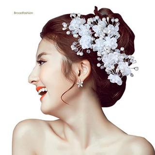 2b2cfd3af4 ♥BDF♥1Pc Flower Faux Pearl Wedding Hair Pin Headwear White Hair ...