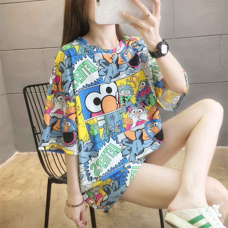 Fashion Statement T Shirt for Women Summer Tops Ins Korea Cute Tshirt Cartoon T-Shirt Plus Size Shirt Long T-Shirt Funny Design Pattern T-shirt Monster Hipster Loose Shirts Oversize tshirt Casual Tops for Girl Round Neck Trendy