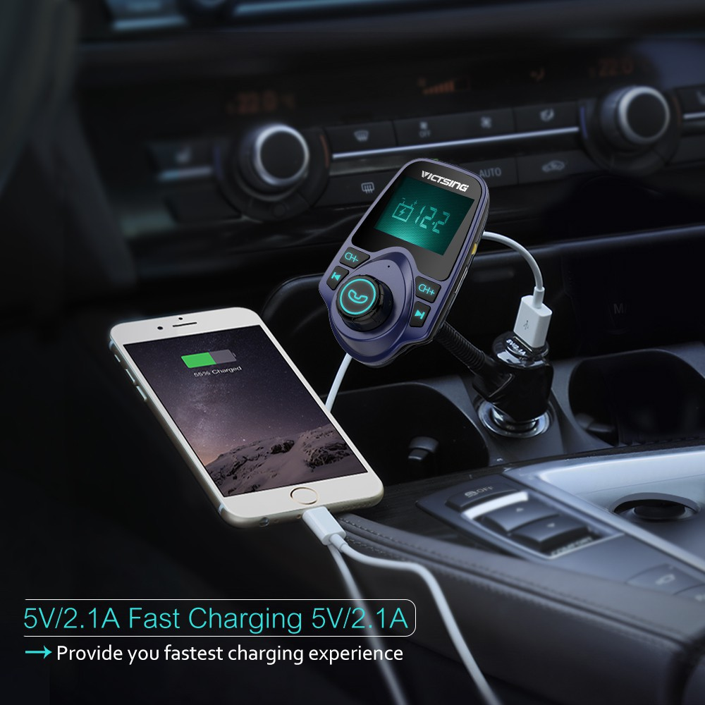 VICTSING Bluetooth FM Transmitter Wireless Car Radio Adapter