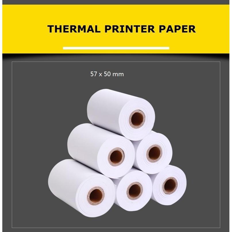 8 Rolls Thermal Paper 57mm x 50mm for POS Mini Printer/ Bluetooth Printer