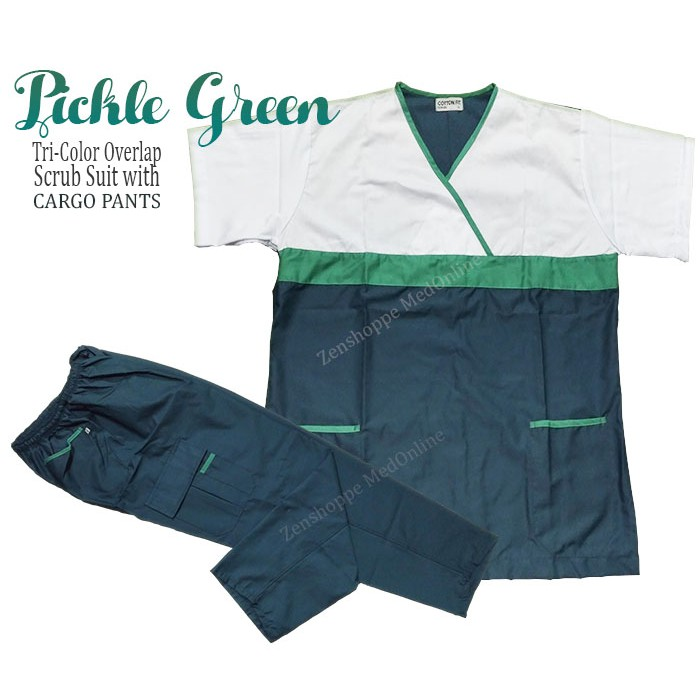 ebf378aac6f Tri-Color Scrub Suit with Cargo Pants (Pickle Green) [LCC] | Shopee  Philippines