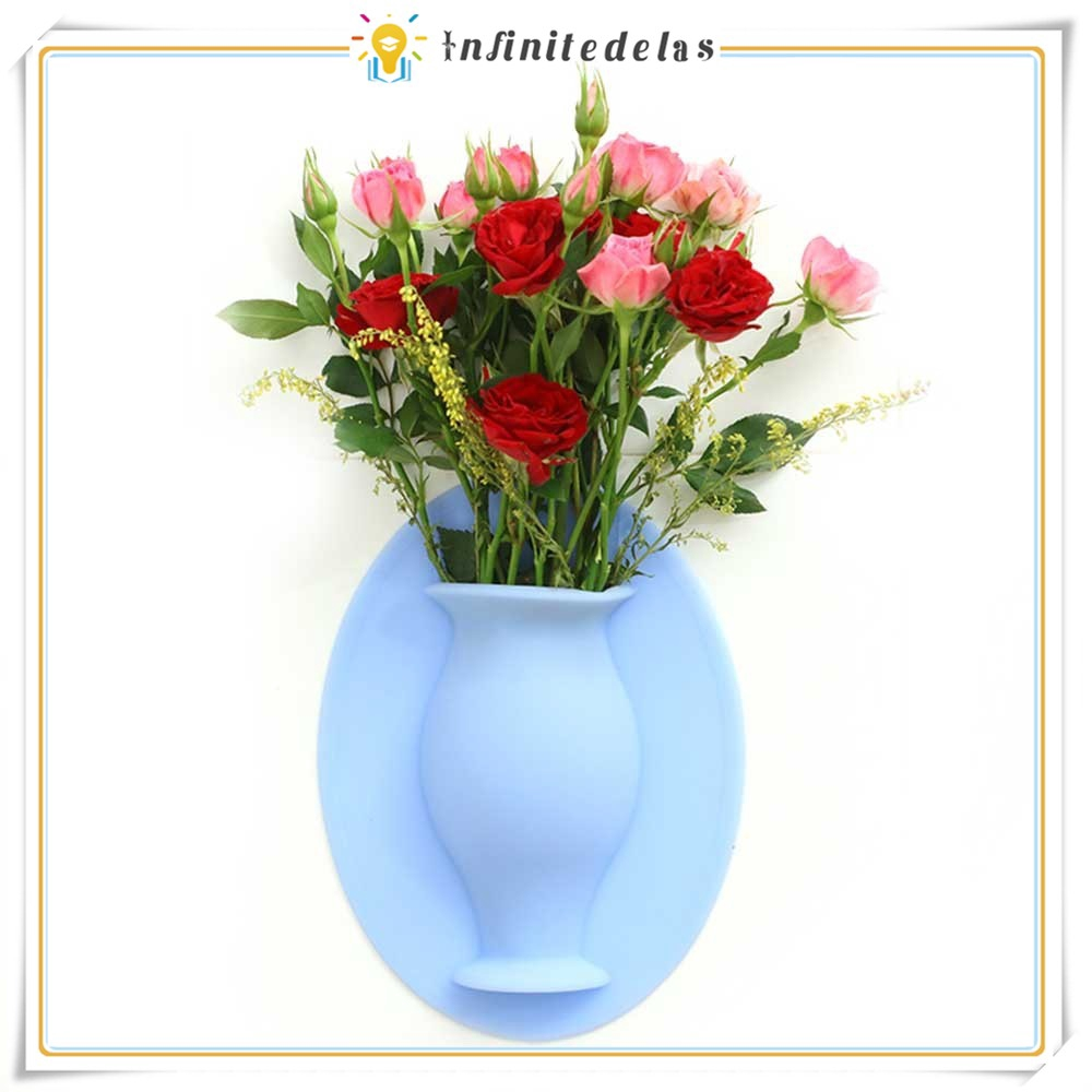 Infinite Silicone Sticky Vase Reusable Wall Mounted Flower Holder Drilling Free Hanging Decorative Shopee Philippines