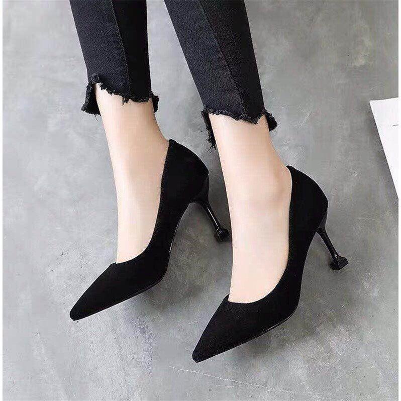 elevato giardino circondato  Single Shoes Women's Fine Heel 7Cm Cat Heel Shoes Pointed High Heels Black  Professional Women's Heel | Shopee Philippines