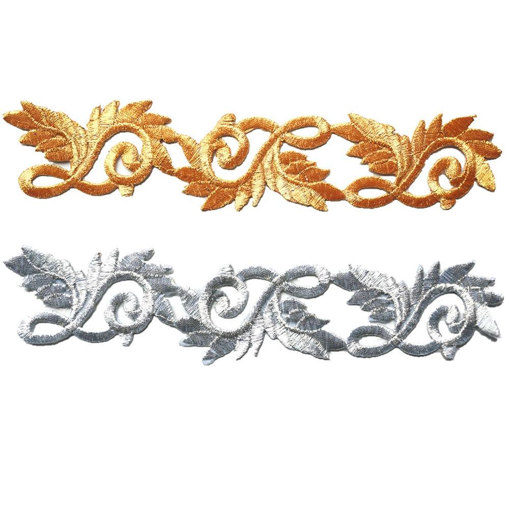 Metallic Gold Embroidered Emblem Iron On Applique x various designs