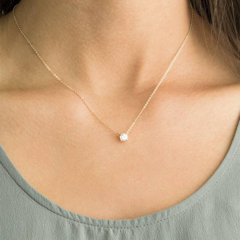 6fbe324fd71d4 Diamond Delicate Solitaire Pendant Dainty Diamond Necklace Bridal Jewelry