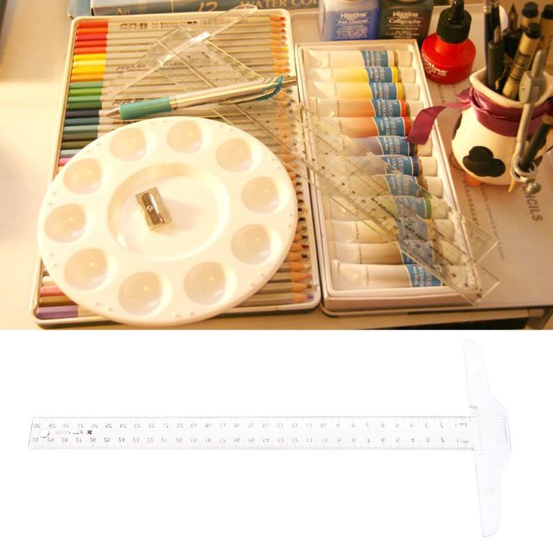 30cm 12/'/' Plastic Metric T Square Double Ruler Side Tool Measurement Measuring