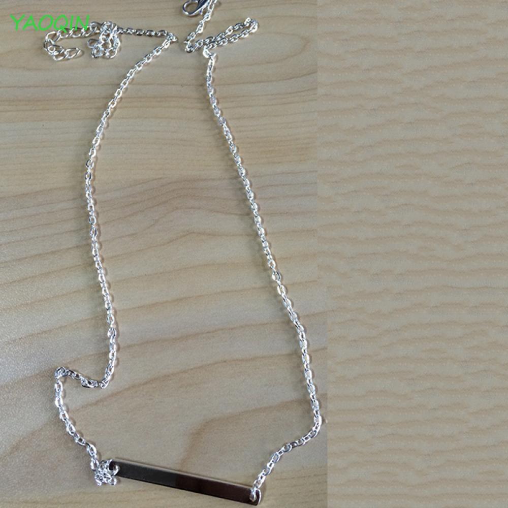 Womens Custom Jewelry Simple Bar Horizontal Rectangle Necklace