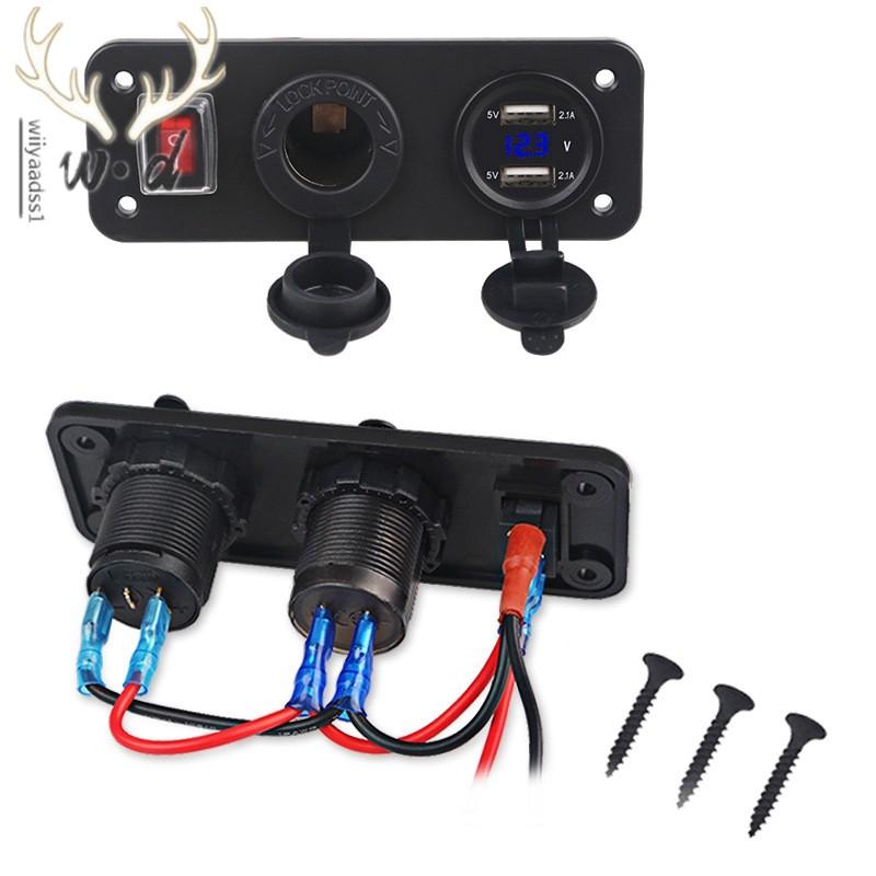 12V//24V Car 3.0A USB Charger Socket Adapter Voltage Dual Voltmeter Marine Panel