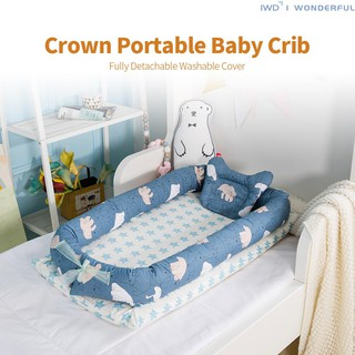 Animal ash Portable Detachable Baby Lounger,100/% Soft Cotton Breathable Washable Can be used on both sides Crib,Infant Co-Sleeping Portable Cribs Baby Breathable Lounger Sleeping Bed,for 0-36 Months Newborn Baby