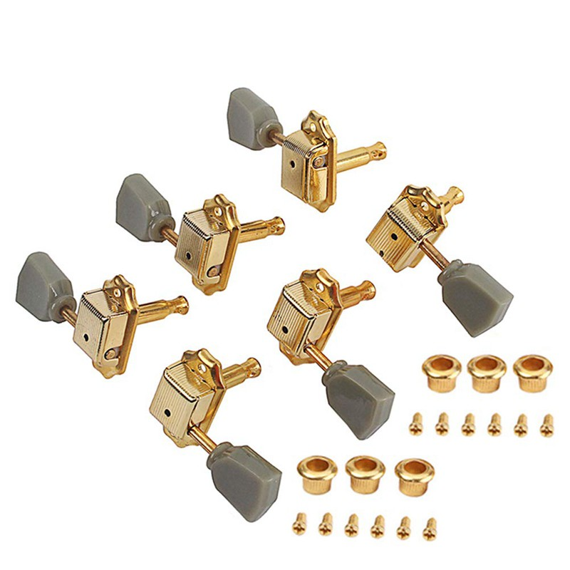 Small Square Heads 3R+3L Sealed Guitar Tuning Pegs Locking Key for Acoustic Electric Guitar Replacement