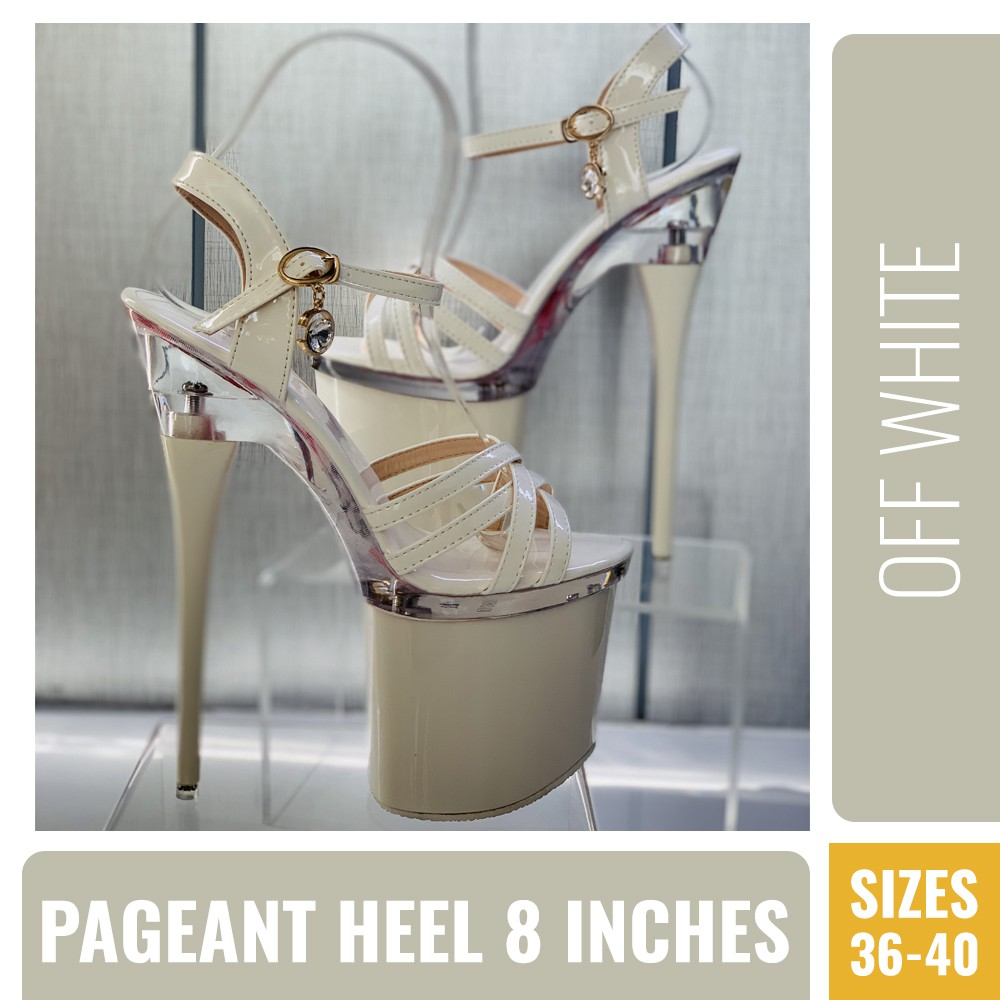 dc2387f0196 PAGEANT HEELS OFF WHITE AND GLASS COMBINATION 8 INCHES