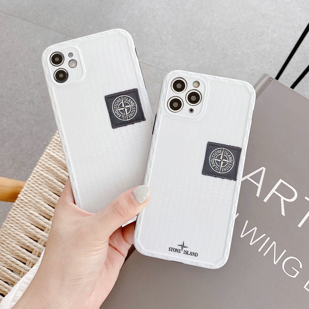 Fashion Frosted Border Stone Island Soft IMD Phone Case For iphone 7 8 Plus X XR XS Max 11Pro Max