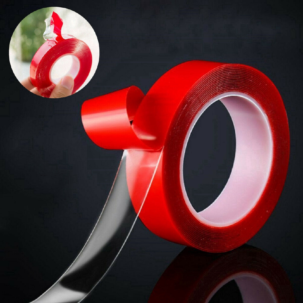 Two Packs of 6mm Width Permanent Red Double Sided Sticky Tape 5m Adhesive Roll