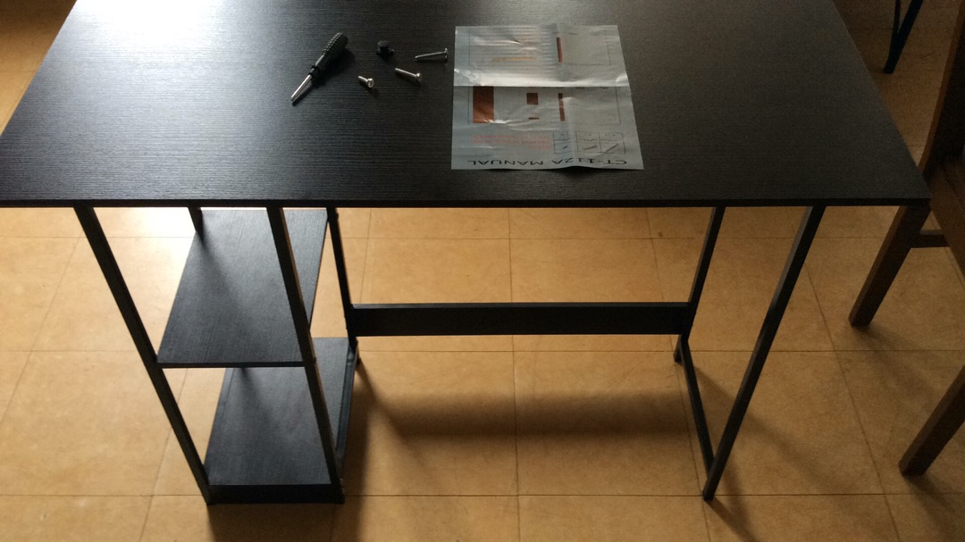 Primetime puter Desk with 2 Tier Shelves Underneath Length 100xWidth 40xHeight 72centimeters i