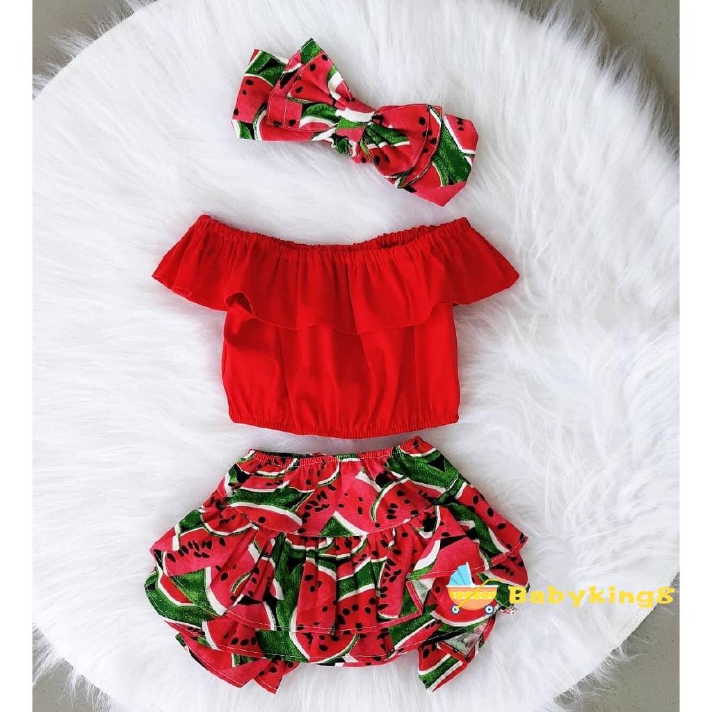 Infant Baby Girls Sleeveless Fruit Vest Top Shirts+Striped Ruffled Shorts Bloomers Pant Headband Summer Outfit Set