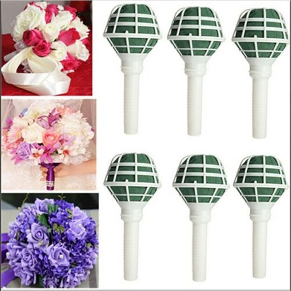 1Pc DIY Bridal  Flower Holder Floral Foam Bouquet Handles Wedding Accessories