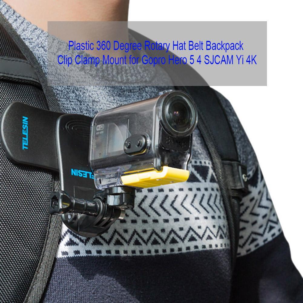 360 Degree Rotary Backpack Belt Clip Clamp Mount for Gopro Hero 5 4 Yi 4K