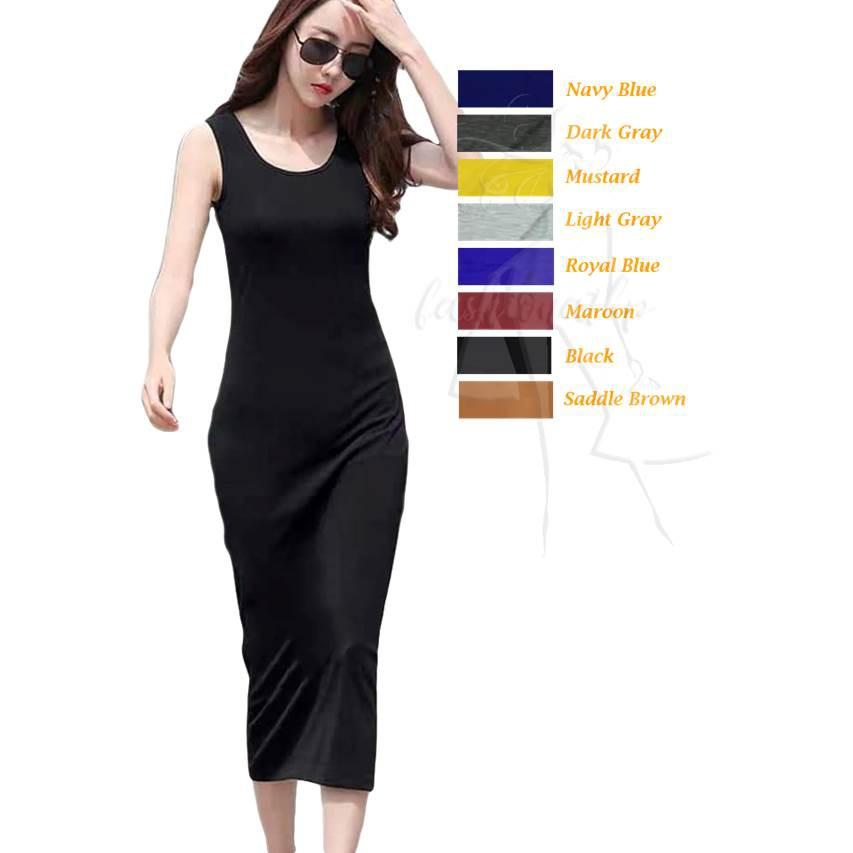 e05d70b3d38e8 DW #217 Basic Cotton Sleeveless Dress (No Slits )