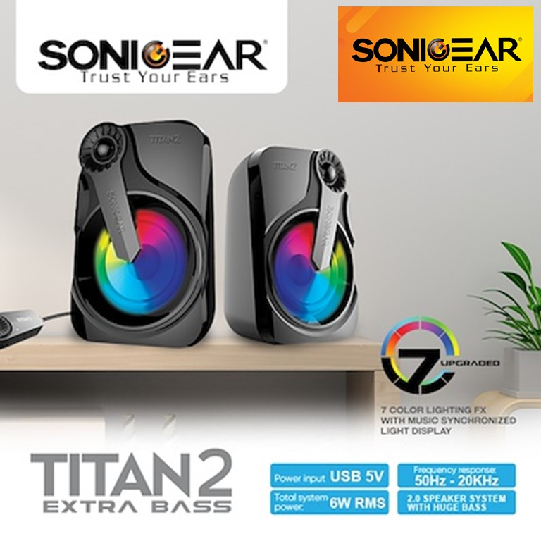 Sonicgear TITAN 2 USB 6W RMS Portable 2.0 Speakers with 7 Color ...