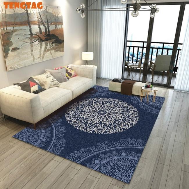 Chinese Style Printing Carpet for Living Room Anti-Slip Soft Kids Bedroom  Floor Mat