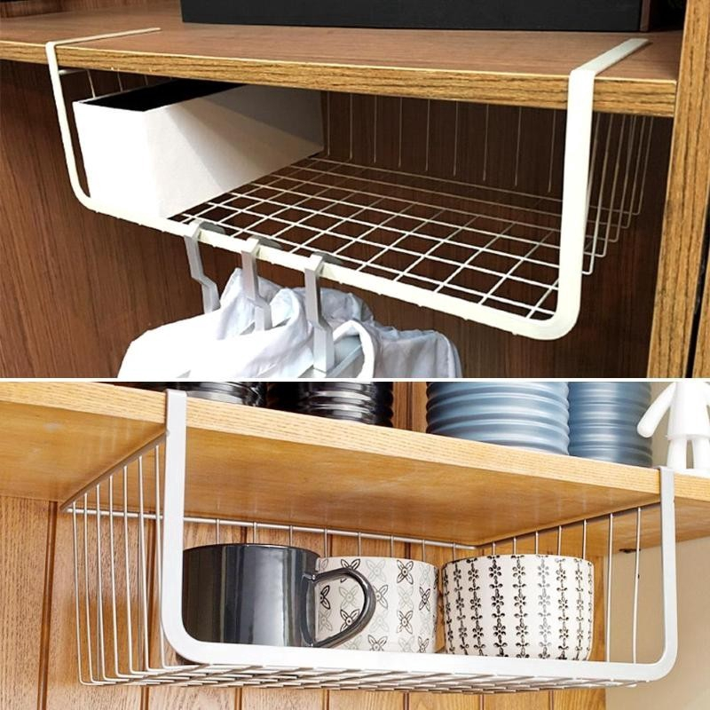 Storage Organizer Under Shelf Basket, Kitchen Pantry Hanging Rack