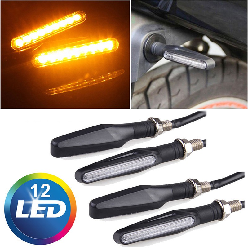 4x Motorcycle Universal Black LED Turn Signal Amber Light Indicator Blinker Lamp