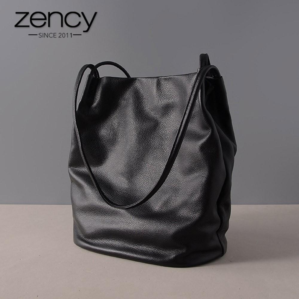 494353c8ffd3d9 Zency 100% Genuine Leather Handbag Fashion Women Shoulder Bag Brown Casual  Tote Bags High Quality La | Shopee Philippines