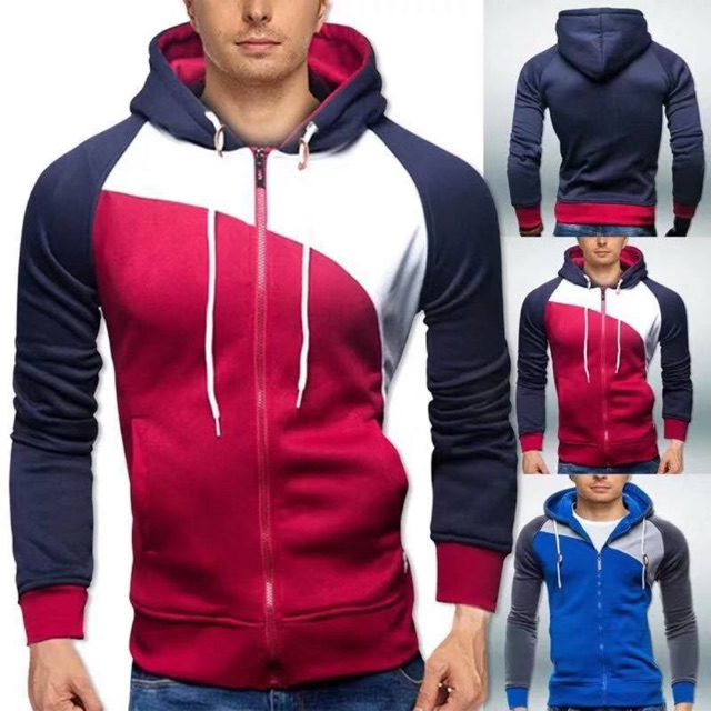 Men's Hoodie Sweater Splice Zipper Long Sleeve Jacket