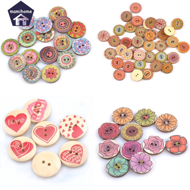 20x Heart Design Round Wooden Buttons for Scrapbooking Sewing DIY Craft 20mm