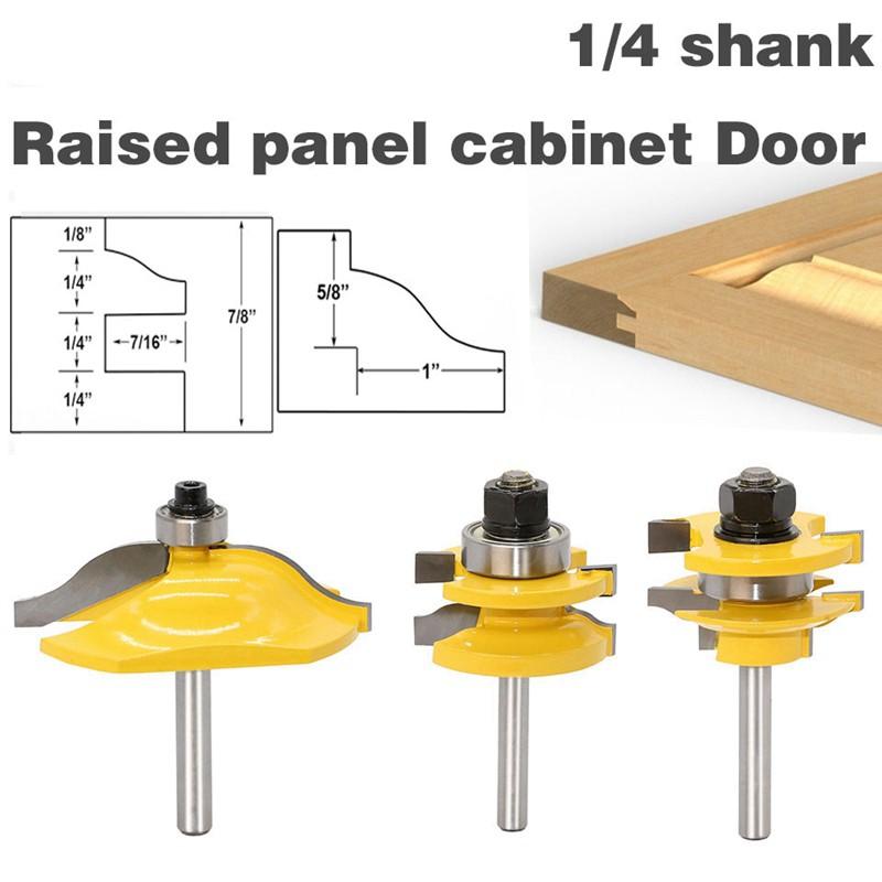 3 Bit Cove 1//2/'/' Shank Raised Panel Router Bit Set For Cabinet Wood Door Blade F