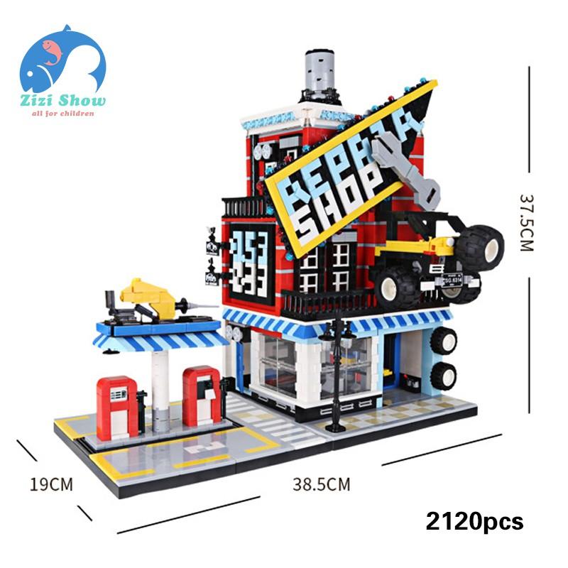 4set Foods Shop Car Building Blocks with Action Figures Street View Toys Bricks