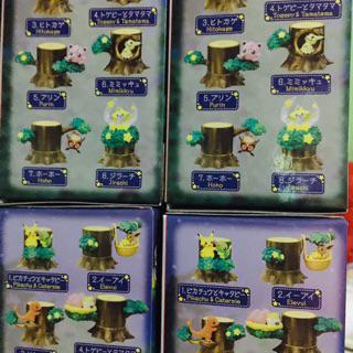 Anime Pokemon Go Miniature Forest Tree Collection Figure Toys Pikachu Eevee 8pcs
